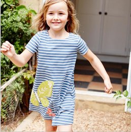 Wholesale Jersey Knee Length Dresses Wholesale - Little Girls Summer Dresses Robe Enfant Princess Dress Costumes for Kids Clothing Rainbow Print 100% Cotton Girls Jersey Clothes