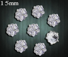 Wholesale Hair Accessory Sunflower Clip - 50pcs 15mm Rhinestone Crystal Sunflower Flower Beads Button Flatback For Scrapbooking Craft DIY Hair Clip Accessories