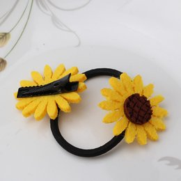 Wholesale Hairclips For Women - Wholesale- New Arrival Floral Hairclips Children Hair Accessories Girls Hairpins Small Sunflower Headwear for Dress Women Elastic Hair Band