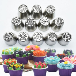 Wholesale Sugarcraft Decorating Tips - Russian Tulip Flower Cake Icing Piping Nozzles Decorating Tips Baking Sugarcraft Tips Baking Tool 12pcs set OOA2546