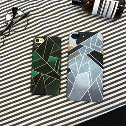 Wholesale Korean Mobile Phone Case - Korean wind geometric ink green for iphonex   8 mobile phone shell for iphone 6s   7plus full package scrub hard shell
