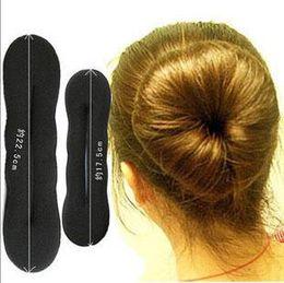 Wholesale Magic Clip Hair Extensions - Magic Hair Styling Hair Ring Hairpins Hairdisk Meatball Head Rubber Clip 22.5cm and 17.5cm hair accessories for women