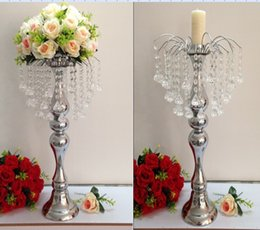 Wholesale Fountain Candles - new year party suppliers table centerpieces decoration wedding props crystal fountain table flower vase holder Candelabra Candle Holder