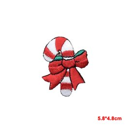 Wholesale wholesale christmas iron appliques - 2016 new arrive Iron On Embroidered Applique Patch Christmas Candy Cane with Red Bow