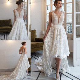 Wholesale Modern Wedding Dress Patterns - Fine Appliques Patterns Backless Wedding Dresses V Neckline Sleeveless High-low Length A Line Bridal Gowns Wedding Gown