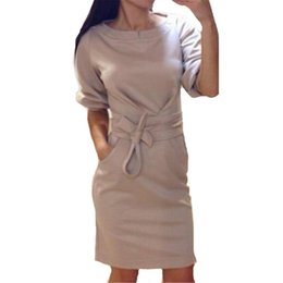 Wholesale Casual Dreses - Wholesale-2016 Winter Dress Women Fashion Half Sleeve Bodycon Party Dreses Casual Solid Color O-Neck Pencil Dresses Vestidos Plus Size