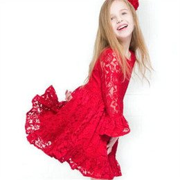 Wholesale Skirts Formal Dance - Girls Children Red Party Dress Lace Ruffles Pleated Formal Dress For Princess Baby Kids Toddlers Half Flare Sleeve Dancing Dress Skirts Wear