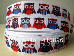 Wholesale Owl Print Ribbon - WM ribbon OEM 7 8inch 22mm July 4 colorful owl printed grosgrain ribbon 50yards roll free shipping <$18 no tracking