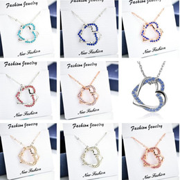 Wholesale Wholesale Craft Diamonds - Free shipping Austrian full diamond twisted double peach heart necklace tied to your heart YP086 Arts and Crafts pendant with chain
