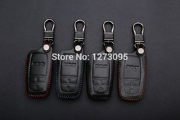 Wholesale Toyota Wallet Key - 2014 2015 Toyota Reiz Corolla RAV4 Yaris Hand-stitched Leather Car Key Cover Hand Sewing Case Bag Wallet Keychain Accessories