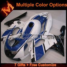 Carenado yzf 1997 online-Cubierta de motocicleta 23colors + 8Gifts blanco azul para Yamaha YZF600R 1997-2007 YZF 600R 97 98 99 00 01 02 03 04 05 06 07 Kit de carenado de plástico ABS