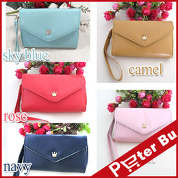 Wholesale Crown Cute Phone Wallet - Wholesale-new wallet Purse Mobile Phone Bags Women Fashion Lovely Crown Concise Wallets Cluth cute Card Holders for iPhone Phone case bag