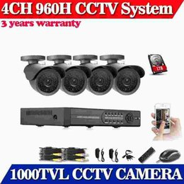 Wholesale pc security dvr - 960H 4CH HDMI DVR Outdoor Home Video With 4 PCS Black Waterproof 1000TVL CCTV Security Camera System With 1TB HDD