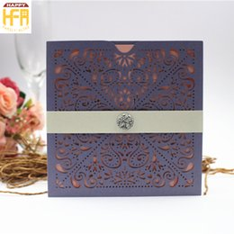 Wholesale Bridal Paper - 15*15Cm High Quality Wedding Cards Invitation Card Laser Cut Paper Wedding Invitation Paper Art Hollow Design Marriage Cards Bridal Shower