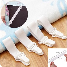 Wholesale white clip suspenders - 4pcs Lot White Bed Sheet Mattress Cover Blankets Grippers Straps Suspenders CLip Holder Elastic Fasteners Buckles HH-B20