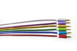Wholesale Color Cable Set - 2016AUX audio line 3.5 mm aluminum foil set of twill alloy shell and approaches to support mobile computer section 3 color