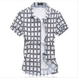Wholesale Blue Plaid Shirts - Wholesale-chemise homme 2016 High quality plaid shirts Mercerized cotton stretch shirt short sleeve men shirt chemise homme size M- 6XL