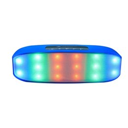 Wholesale Trumpet Speaker - 2017 High quality NR-2014 wireless bluetooth colorful lamp speaker dual-trumpet changing color plug-in card speaker -BLUE