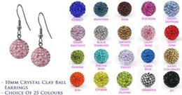 Wholesale Color Crystal Silver Earrings - Lowest Price!10mmfttfh Clay Mixed 20 Color MOW Crystal Micro Pave Disco Ball Silver Plated Shamballa Earrings drop Stud jewelry DIY