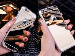 Wholesale Iphone Cover Mirror Bling - Gold Luxury Plating Bling Luxury Mirror Case For iPhone 7 6 6S Plus 5s SE Soft Clear TPU Cover For iPhone 6 7 6S 5S