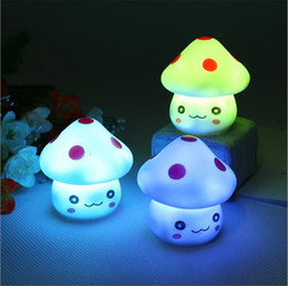 Wholesale Lighted Novelty Toys - New Cute LED Mushroom Lamp 6.5cm Color Changing Party Lights Mini Soft Baby Child Sleeping Nightlight Novelty Luminous Toy Gift