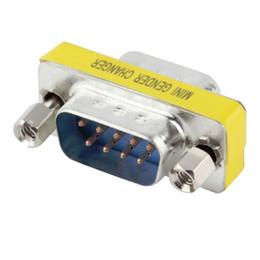 Adaptador serial rs 232 online-Al por mayor- en stock! 1 unids 9 Pin RS-232 DB9 Macho a Macho Cable Serial Changer Adaptador Adaptador de acoplamiento promoción