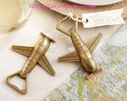 """Wholesale Unique Airplane - Unique Wedding Gift for Guests of """"Let the Adventure Begin"""" Airplane Bottle Opener Wedding decoration favors 15Pcs Lot Free shipping"""