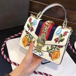 Wholesale Embroidered Leather Shoulders Bags - Embroidered bag crossbody bags women famous brand Sylvie Three-color shoulder strap bag luxury designer leather handbags high quality