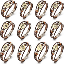 Wholesale Men Bracelete - Bracelets Unisex Punk Rock Retro Bracelete 12 Constellations Copper Bronze Women Men Braided Leather Cord XMAS Gifts WX-B08