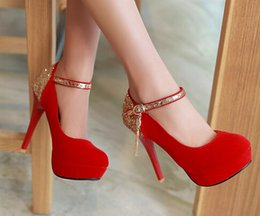 Wholesale Red Small Heel - Small big size34-42 black round toe thin sexy bridal Suede medium high heel shoes women pumps lady red platform wedding heels shoes