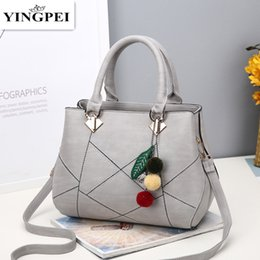 Wholesale Green Day Hair - PU Leather Top-handle Bags Larger Women Hanbags All-match Hair Ball Shoulder Handbag Motorcycle Messenger Bag