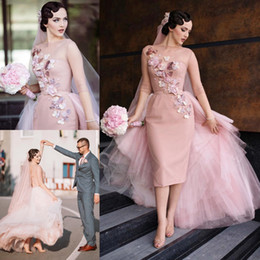 Wholesale Tulle Seller - 2016 Hot Seller Wedding Dresses With Detachable Skirt 3D-Floral Appliques Illusion Wedding Gowns Waistband Knee Length Bridal Gowns