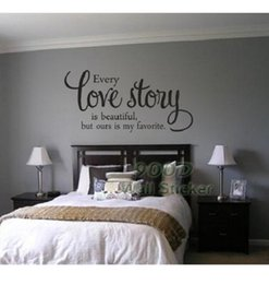 citar decalques para paredes Desconto Love Story Quote Wall Sticker, Diy Decoração para casa Decoração de parede Decalque de parede, Dq 2014502