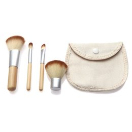 Wholesale Dhl Freeshiping - 4Pcs Set Bamboo Makeup Brushes Kit Beautiful Professional Elaborate make Up brush Tools With Case DHL Freeshiping