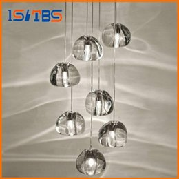 Wholesale Crystal Ceiling Lamp Chandelier - Modern clear gold crystal glass sphere ball chandelier g4 3 5 7 15 26head pendant lamp Meteor Rain ceiling light stainless steel base