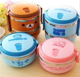 Wholesale Cartoon Food Container - Lunch Box Rilakkuma one Two Layers Thermal Bento Thermos For Food Stainless Steel Insulation Storage Container Dinnerware sets