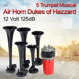 Wholesale Horn Air Compressor - 5Pcs set Universal 125DB Black Trumpet Musical Dixie Car Duke of Hazzard + Compressor 12V Car Air Horn AUP_40O