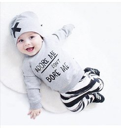 Wholesale Winter Baby Sweatshirt Set - Unisex Long Sleeve Baby Girls Boys Clothing Sets Toddler Infant Newborn 3pcs Suit Tops Pants Hat Outfits Sweatshirt Kids Clothes
