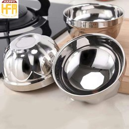 Wholesale Kitchen Bowls Stainless Steel - Stainless Steel Bowl Kitchen Utensils Double Wall Bowl Heat Proof Soup Bowls Highlighted Deepen Unmagnetic Round Shape Bowls 4 Sizes