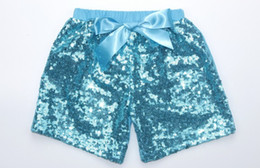 Wholesale Candy Color Short Pants - KIDS girl sequins shorts 11 colors girls summer bowknot short pants satin boutique shorts children candy solid color trouser 0-8T