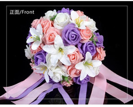 Wholesale Cheap Foam Flowers - Hot Sales Colorful Artificial Rose Lilium Flower Wedding Bouquet Perfect Wedding Favors Bridal Hand Holding Flowers Cheap In Store DL1313703