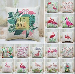 Wholesale Chair Covers Linens - Flamingo Printed Linen Pillow Case Throw Cushion Cover Sofa Chair Decor Pillowcase Sofa Decorative Pillow Covers 40*40cm KKA3001