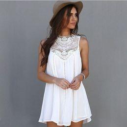 Wholesale Chiffon Sun Dress Woman - Free shipping 2016 Fashion Casual Loose Sexy Charming Sleeveless Lace Patchwork O Neck Mini Sun dress White summer Dress