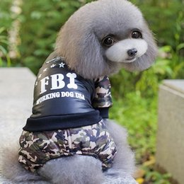 Wholesale Xxl Dog Jumpsuits - Puppy Pet Dog FBI Print Winter Warm Thick Jumpsuit Coat Clothes S M L XL XXL