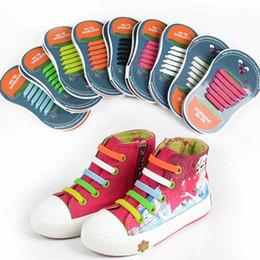 80bf5bfa05a92 2019 cordones elásticos para zapatos de los niños 12Strips   Set Kids  Silicona de moda No