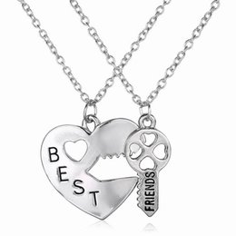 Wholesale Womens Stainless Steel Heart Necklace - Best Friends Friendship Heart Key Silver Necklace Pendant Couple BFF Alloy Necklace Jewelry Pendant Necklaces Womens Chain 2pcs set Free DHL
