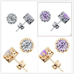 Wholesale Earring Back 925 - Dream Hot New 925 Sterling Silver Round zircon Stud Earrings for women ear rings Earring Fine Jewelry earings Gift