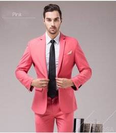 2020 шампанское смокинг костюмы для мужчин Wholesale-Costume Homme custom made men suit tuxedo champagne tuxedo mens suit with pants men tux  clothing neon pink wedding suits скидка шампанское смокинг костюмы для мужчин