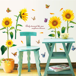 Wholesale Sunflower Removable Wall Decals - The New Warm Living Room Bedroom Backdrop Decor Sunflower Flowers Wall Stickers Wallpaper Waterproof Removable Letter Quote Mural Art Decals