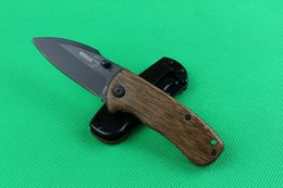 Wholesale china hunting knifes - Drop shipping China made BOKER DA66 folding knife 440C stainless steel blade wood handle pocket knives camping tools with original box